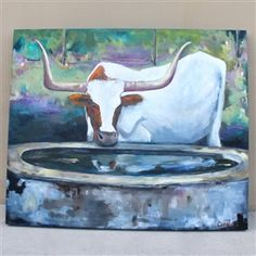 Bring home a piece of Texas with this white longhorn painting by a local Texas artist