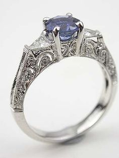 Sapphire and Filigree Engagement Ring