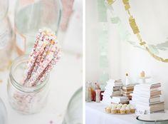 pretty floral paper straws & cute party setup