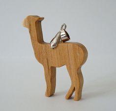 Alpaca Llama Necklace Maple Hand Cut Wood Scroll Saw Pendant. $16.00, via Etsy.