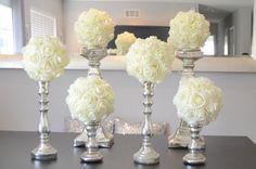 """Ensemble de 6 luxe Elegant 8"""" boules de mariage Ivoire suspendus mousse fleur boules senteur baiser de mariage, mariage pièce maîtresse, fille de fleur"""
