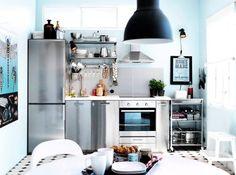 Ikea kitchenette and other top mini kitchens Kitchen Ikea, Kitchen Sets, Kitchen Storage, Nice Kitchen, Cheap Kitchen, Country Kitchen, Stainless Kitchen, Kitchen Appliances, Stainless Steel