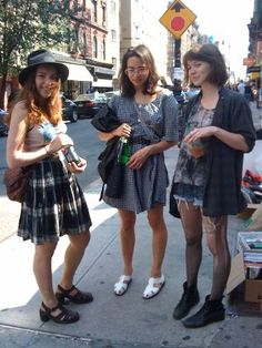 These girls show off the more grunge look like what was mentioned earlier. Teens like to look casual and and looking how society said was cool to dress is very important to everyone. That won't change through any decade.