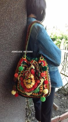 Boho gipsy Shoulder Bag /Crochet Colorful Bag /Unique and original/Large shoulder bag hippie  handbag /crochet purse with tassel and pom-pom