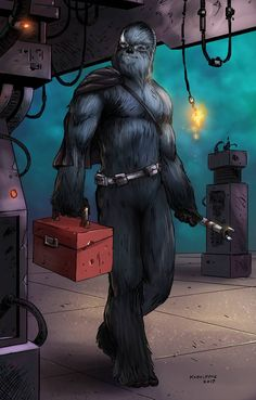 Star Wars-based OC commissioned by for KelviinTheWookiee. Kelviin the Wookie (Commission) Star Wars Droids, Star Wars Rpg, Star Wars Ships, Star Wars Jedi, Star Wars Characters Pictures, Star Wars Images, Star Wars Concept Art, Star Wars Fan Art, Character Inspiration