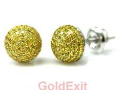 14KT WHITE GOLD MEN'S / WOMEN'S DIAMOND STUD 0.3INCHES WIDE EARRING - GoldeXit
