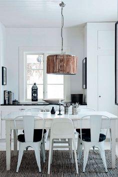 black + white + wood dining area