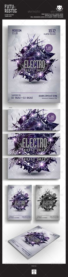 Electro House Futuristic Party Flyer Templates