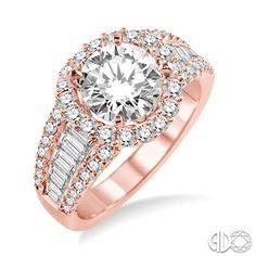 1 1/3 Ctw Diamond Semi-Mount Ring in 14K Rose/Pink Gold