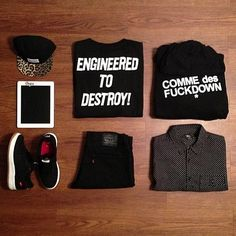 Dope outfit grid with the Raised By Wolves 5-panel, Mishka tee, SSUR hoody & Stussy button-up #outfitgrid