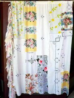 Shower Curtain shabby chic Boho decor boho curtain Patchwork fringe fabric floral Gypsy Bohemian Door Hippiewild Hippie Hippy