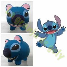 Stitch Pebble Painting, Pottery Painting, Easy Crafts, Diy And Crafts, Ramses, Pig Bank, Personalized Piggy Bank, Smurfs, Decoupage