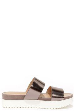 Wanted Mello Pewter Flatform Slide Sandals at Lulus.com!