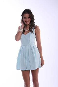 This outfit is like the modern girl's Cinderella - light blue and #pearls!