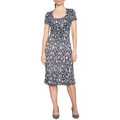East Marrisa Pleated Tie Front Dress, Indigo ($140) ❤ liked on Polyvore featuring dresses, short sleeve dress, floral print maxi dress, short sleeve maxi dress, long-sleeve shift dresses and maxi dresses