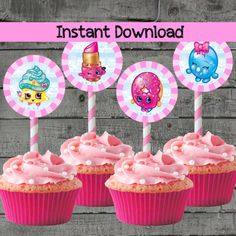 Shopkins Cupcake Toppers Kids Birthday by PartyPrintableInvite