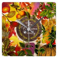 Autumn Leaves Fall Collage Monogram Vintage Wood Square Wall Clock -nature diy customize sprecial design