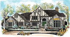 House Plan 95228 | Luxury Tudor Plan with 5638 Sq. Ft., 4 Bedrooms, 6 Bathrooms, 3 Car Garage at family home plans