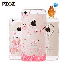 Pzoz para iphone 5se case rhinestone del brillo cubierta de silicona original para iphone 5 s 3d de lujo lindo de la historieta de shell para el iphone 5s
