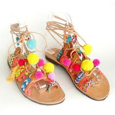 Pom pom Sandals Boho sandals Greek sandals pompom sandals sandales pom... (3,945 INR) ❤ liked on Polyvore featuring shoes, sandals, boho sandals, pom pom shoes, greek sandals, leather sandals and gladiator sandal