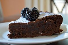 Fudgy flourless chocolate cake -- great for anyone, but especially your #glutenfree friends.