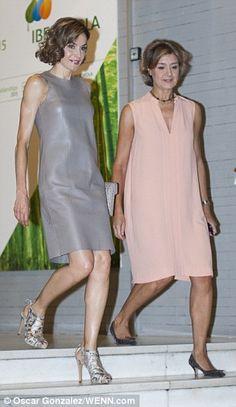 Queen Letizia wears leather dress and snakeskin stilettos