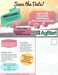 Dinner and Drones is an #AgTech Showcase hosted by #AgStart this Saturday, August 20 in #Woodland #CA. Featuring a #FarmToFork dinner, there will be #drone racing and a #microbiotic #fashionshow! AgStart is a non-profit that visualizes #ag solutions for the future by cultivating ideas with #growers and #startups. For more information go to http://www.agstart.org/events.html