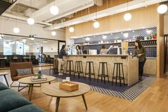 A Tour of WeWork - Yan'An Dong Lu - Kitchen at WeWork's coworking space in Shanghai - Look Office, Cool Office Space, Office Floor, Office Space Design, Modern Office Design, Office Interior Design, Home Office Decor, Office Designs, Office Break Room