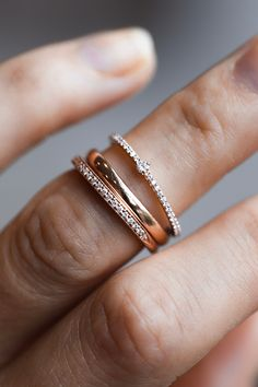 We love that rosey warm hue of rose gold. Here we have the Pavé Birthstone Stacker, the Super Skinny Daylight, and the Roxanna all in 14k rose gold!