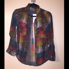 New! Multi color snake print button up blouse New with tags! Size small, long sleeve multi color semi-sheer button up. Never worn! Tops Blouses