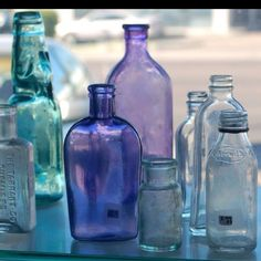 love colored bottles and glass