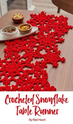 Crocheted Snowflake Table Runner free crochet pattern in Super Saver.
