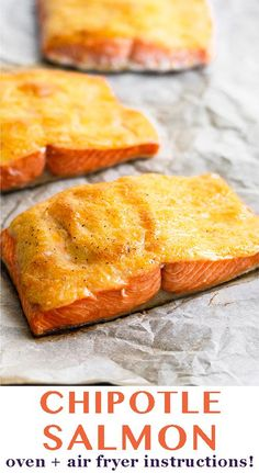 Chipotle salmon made with only 2 ingredients and can be cooked in the oven or air fryer. Makes a super quick and healthy dinner everyone will love. Paleo keto and low carb. - Eat the Gains Salmon Recipes, Fish Recipes, Seafood Recipes, Low Carb Recipes, Party Recipes, Salmon And Asparagus, Roasted Salmon, Smoked Salmon Frittata, Salmon Breakfast