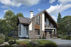 Проект жилой дом #57-00 материал - газобетон, стиль современный Facade House, Design Case, Log Homes, Interior And Exterior, House Plans, House Design, Cabin, How To Plan, Mansions