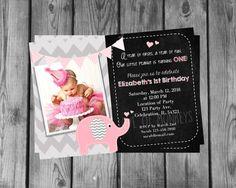 Elephant Birthday Invitation 1st Birthday by ForTheLoveOfMonkeys