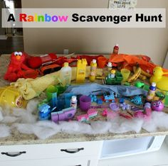 This scavenger hunt will keep the kids busy for awhile! Build a rainbow!