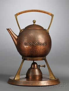WMF Arts & Crafts teakettle on stand hammered copper