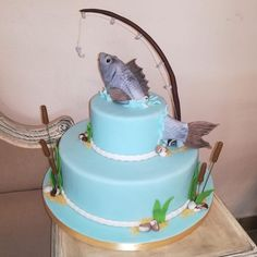 Fishermans birthday #fish#fishing#birthday#cake#blue#sea#
