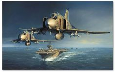 "Into the Storm by John D. Shaw -  F-4 Phantoms pass the USS Constellation on a MiGCAP mission, armed with Sparrow and Sidewinders in 1967. Two stalwart squadrons are represented here; VF-143's ""Pukin' Dogs"" and VF-142's ""Ghostriders"", who flew together as sister squadrons throughout the war."