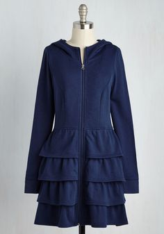 Tier Me Roar Jacket in Navy. Finished off with this navy blue hoodie, your look is equipped with comfort, drama, and a shocking amount of versatility! #blue #modcloth