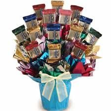 Image result for chocolate candy bouquet in glass container ideas