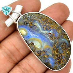 20g Boulder Opal & Blue Topaz 925 Sterling Silver Pendant Jewelry PP23442 | eBay
