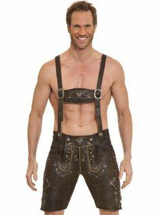 Herren Trachten Lederhose Frank kurz (dunkelbraun gespeckt) - MarJo Trachtenmode - Dirndl & Trachten Shop - trachten-fashion.de