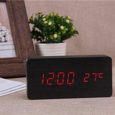 Black & Red Board alarm clock & Temperature thermometer digital watch Led Alarm Clock, Contract Design, White Lead, Digital Alarm Clock, Multifunctional, Digital Watch, Bamboo, Usb, Wood
