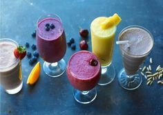 Try these healthy smoothie recipes to get the nutrients and protein you need. Protein Smoothies, Organic Smoothies, Nutritious Smoothies, Good Smoothies, Healthy Protein, Fruit Smoothies, Making Smoothies, Homemade Smoothies, Milk Protein
