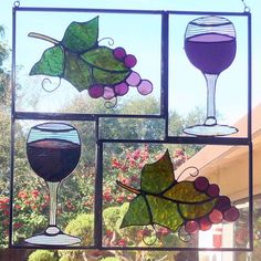 Grapes and Wine in Stained Glass by GlassGranny on Etsy, $150.00