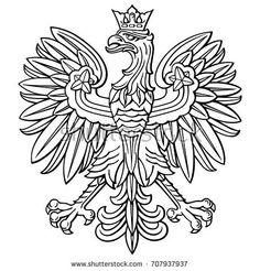 Poland eagle, polish national coat of arm royalty-free poland eagle polish national coat of arm stock vector art & more images of eagle - bird Eagle Outline, Eagle Art, Tribal Sleeve Tattoos, Tattoo Sleeve Designs, Polish Eagle Tattoo, Badges, Art History Major, Historia, Tattoo Ideas
