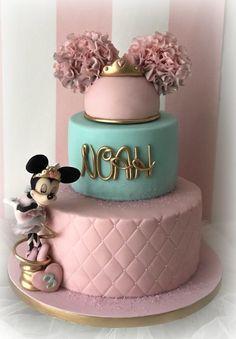 Minnie princes & ballerina - cake by Cristina Torta Minnie Mouse, Bolo Minnie, Minnie Mouse Birthday Cakes, Mickey Mouse Cupcakes, Mickey Cakes, Baby Birthday Cakes, Minnie Mouse Cake, Mickey Birthday, Birthday Kids