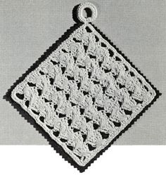 Cross Shell Pot Holder crochet pattern originally published by Coats & Clark, Book 141, in 1963.