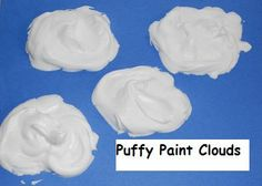 Puffy Paint Clouds Craft for Preschool and Kindergarten Weather For Kids, Preschool Weather, Weather Crafts, Weather Unit, Weather Activities, Kindergarten Science, Preschool Activities, Art For Kids, Crafts For Kids
